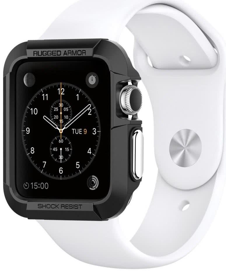 SPIGEN - Apple Watch 3/2/1 (38mm) Case Rugged Armor, Black (SGP11485)