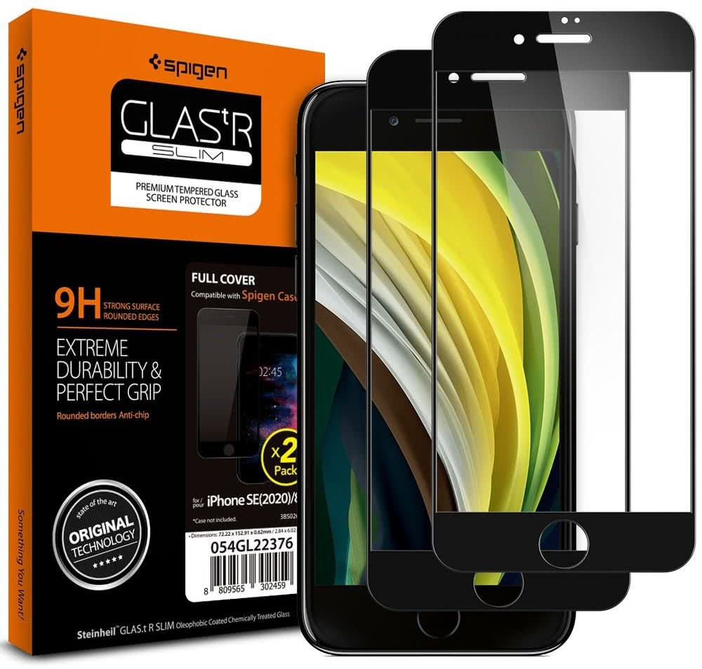 SPIGEN GLASS FC 2-PACK IPHONE 7/8/SE 2020 BLACK (AGL01315)