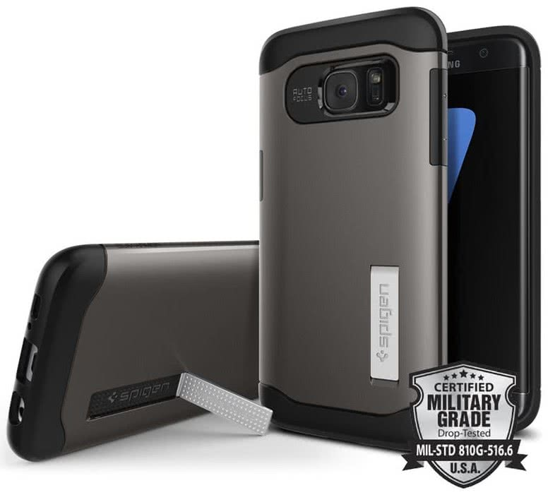 SPIGEN Galaxy S7 Edge Case Slim Armor Gunmetal (556CS20038)