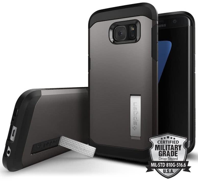 SPIGEN Galaxy S7 Edge Case Tough Armor Gunmetal (556CS20043)