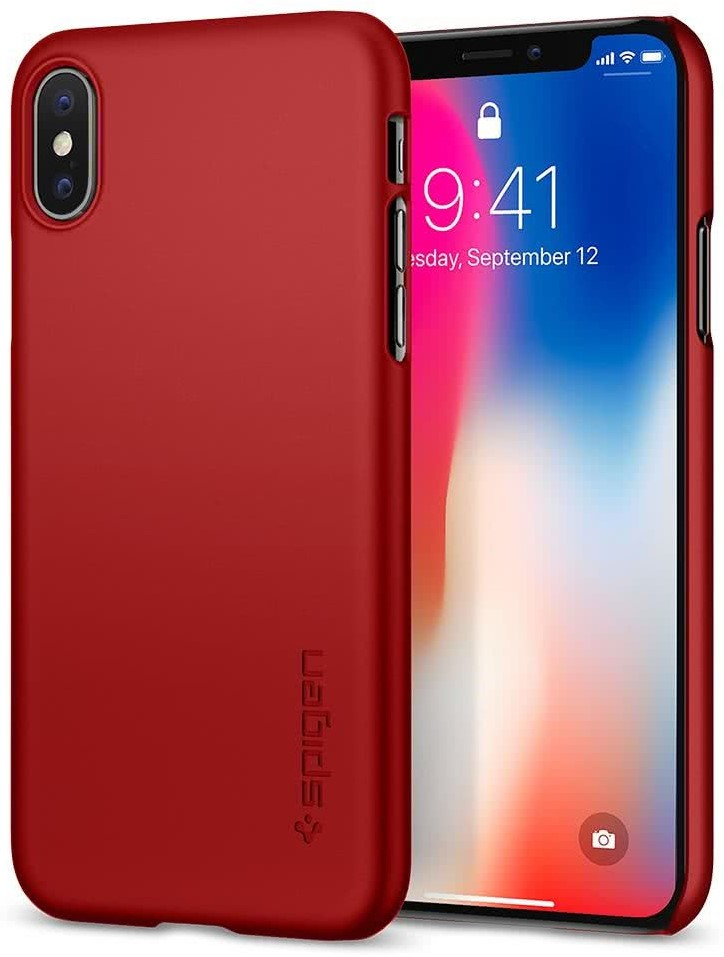 SPIGEN - Apple iPhone X Case Thin Fit Metallic Red (057CS22109)