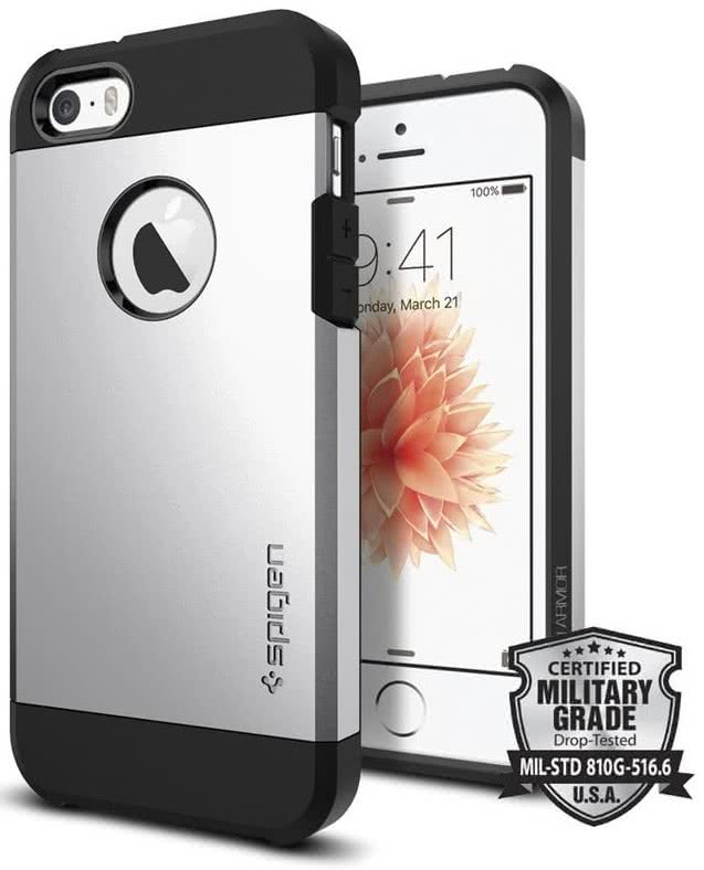 SPIGEN iPhone SE Case Tough Armor Satin Silver (041CS20251)