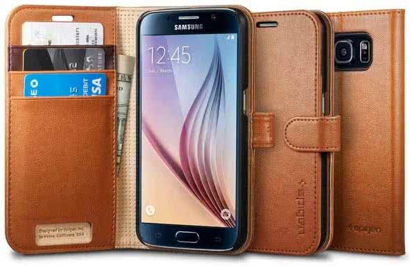 SPIGEN Wallet S, Brown - Samsung Galaxy S6 (SGP11350)